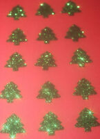 15 SAPINS NOEL VERT Glitter 2.3 cm thermocollant hotfix DIY