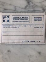 WWII PRISONER OF WAR POST, Unused Original Postal Form, via New York- 12/1944