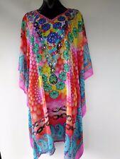 Plus Size Ladies Sheer Chiffon Poly Embellished Kaftan Size 14-16-18-20-22-24