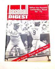 December 1971 Baseball Digest Joe Torre Ex St. Louis Cardinals Tickets Blues Ofr