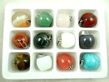 Wholesale 12PC Beautiful Mixed agate Gemstone hand-carved apple Pendant Beads