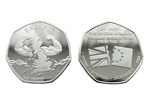 BREXIT Silver Plated Commemorative Coin, UK Breaks Free From EU 2021 - Europe
