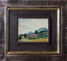 Eugen Spiro: paesaggio estivo in montagna olio 13 x 22 cm Miniatura RARO, + LIBRO