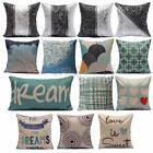 Vintage Art Aqua Navy Pillow Case Home Decor Cotton Linen Cushion Cover 18''
