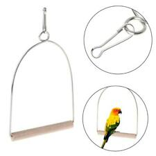 Bird's Natural Wooden Perch Parrots Hanging Swing Cage Toys Stand Holder Pendant