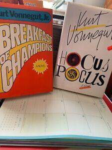 2 Kurt Vonnegut JR HOCUS POCUS  & Breakfast of Champions Hardcover Books