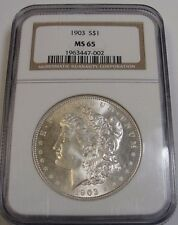 1903 $1 MORGAN SILVER DOLLAR! NGC MS 65! RARE! BEAUTIFUL! COLLECTIBLE! WX7002