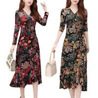 Ladys V Neck Retro Floral Dress Irregular Ruffle Casual Long Sleeve Midi Dresses
