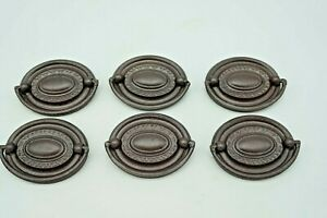 Antique Brass Set of  6 Duncan Style oval drawer pulls Repainted