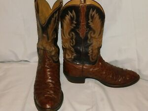 VINTAGE LUCCHESE HANDMADE BROWN FULL QUILL OSTRICH BOOTS SIZE 12 1/2EE