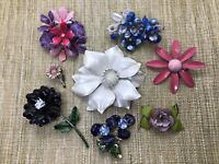 Retro Vtg MCM Mod Enamel Crystal Rhinestone Flower Brooch Lot