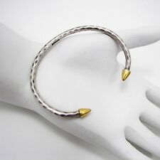 Lucky Brand Amrapali Bracelet Silver Tone Hammered Metal Gold Tone Spike Ends