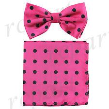 Men's Pre-tied Bow Tie & hankie set lavender black dots pattern formal prom