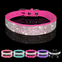 Rhinestone Diamante Dog Collar Soft Suede for Doggie Puppy Cat Small Pet XS S M