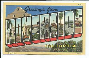 Riverside CA California Curteich Large Letter Linen Postcard