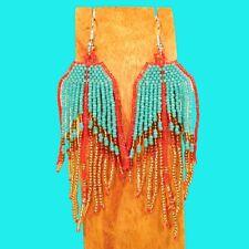 "3"" LONG Handmade Aqua Coral Red Color Chandelier Boho Dangle Seed Bead Earring"
