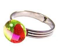 """Dichroic Ring Adjustable Orange Green Pink Striped Fused Glass 1/4"""" 8mm Tiny"""