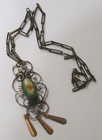 Vintage Jewelry Necklace Copper Dangles Chain Art Stone Cabochon
