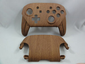 Wooden Grain Soft Touch Front & Back Shell, Nintendo Switch Pro Controller