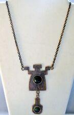 "Aztec Style Brass Pendant NECKLACE w/ Green Stone 19""  Handmade in USA  JN13"