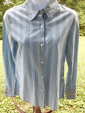 American Eagle Blue/Green Striped 100% Cotton Casual Long Sleeve Shirt Size S