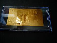 24 Karat GOLD 10 EURO € * European Union MONEY 2002* BILL COMES IN ACYLIC HOLDER
