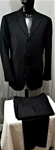 Size 42 107 R TRAVELLERS mens 3 button wool suit black stripe business office