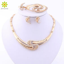 Gold Plated Nigerian Wedding African Beads Crystal Necklace Bridal Jewelry Set