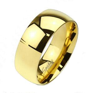 Solid Titanium Men's Gold 8mm Plain Polished Band Ring Size 9-15 Comfort Fit