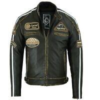 Retro Motorrad Lederjacke Vintage oldtimer Motorrad Leder Jacke Rocker Jacke