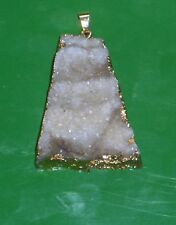 """NATURAL WHITE DRUZY 14K GOLD PLATED 2.2"""" PENDANT, A PIECE OF NATURE!"""