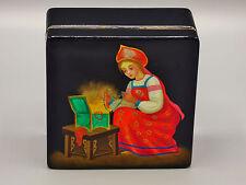 "Russian Lacquer Box "" Malachite Box"" Fedoskino Village Artist- Baranova USSR '79"