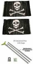 3x5 Jolly Roger Pirate Patch Skull 2ply Flag Galvanized Pole Kit Eagle Top 3'x5'