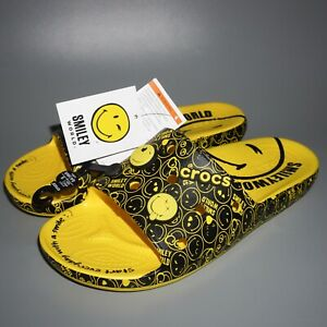 *NEW* 🙂 Classic Crocs Smiley Slide On Sandals Slippers Smiley World Happy Face