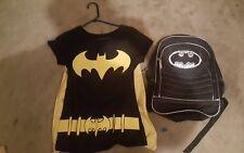 Women's Batman DC Comics Lot of 2: Large Shirt, Black and Silver Shiny Backpack