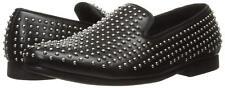 $140 Steve Madden Men's Capitil Slip-on Silver Studs Loafer Black Leather 10.5