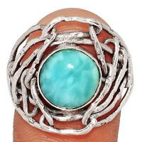 Genuine Larimar - Dominican Republic 925 Silver Ring Jewelry s.9 BR18773  XGB