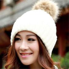 Women Ladies Warm Winter Wool Knit Beanie Fur Pom Bobble Hat Crochet Ski Cap