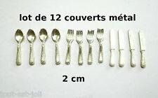 lot douze couverts métal miniature pour vitrine,maison de poupée,   **CL7
