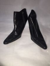 Ladies Womens Metro 7 Allison Ankle Boots Shoes High Heels Black Zip Size 10