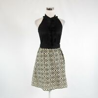 Light beige black geometric cotton blend WESTON WEAR halter neck A-line dress 6