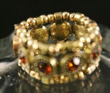 Fashion Jewelry - Golden Bead - Stretchy Ring - Topaz Crystal Rhinestone - New