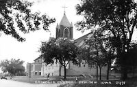 Denison Iowa~Catholic Church Towers Above the Trees~Postcard RPPC 1940s