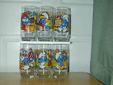 (NEW) 6 SMURF PEYO CHARACTER GLASSES COMPLETE SET 1983