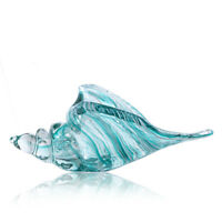 H&D Hand Blown Glass Murano Art Style Seashell Conch Sculpture Ocean Blue