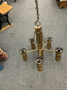 Vintage Chandelier Hanging light Faux Wood Brass Old Chains Gothic mid century