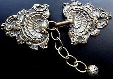 antique art nouveau big ornate dress belt buckle chain & bead flower charm -A264