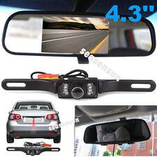 "4.3"" TFT LCD Rear View Mirror Monitor +Licence Plate Waterproof Backup Camera"