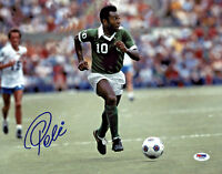 Pele Signed 11x14 Soccer Photo Cosmos Green Jersey - Autographed PSA/DNA COA