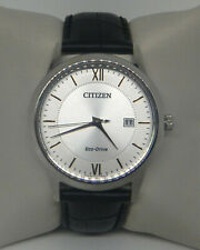 CITIZEN ECO-DRIVE STAINLESS STEEL LEATHER BAND WATCH AW1236-03A